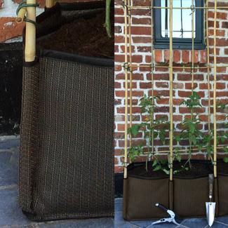 jardiniere exterieur tissu - passant pour tuteur