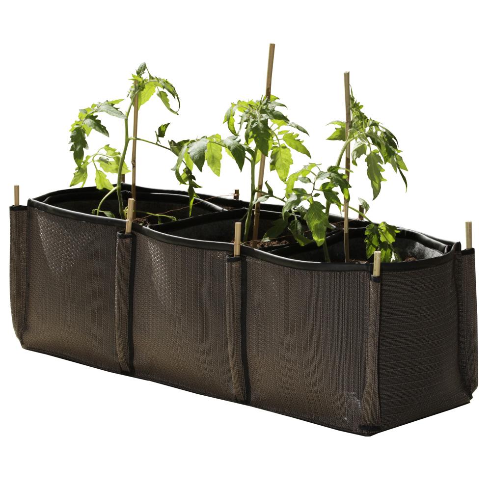 jardiniere balcon l g re en tissu chocolat. Black Bedroom Furniture Sets. Home Design Ideas